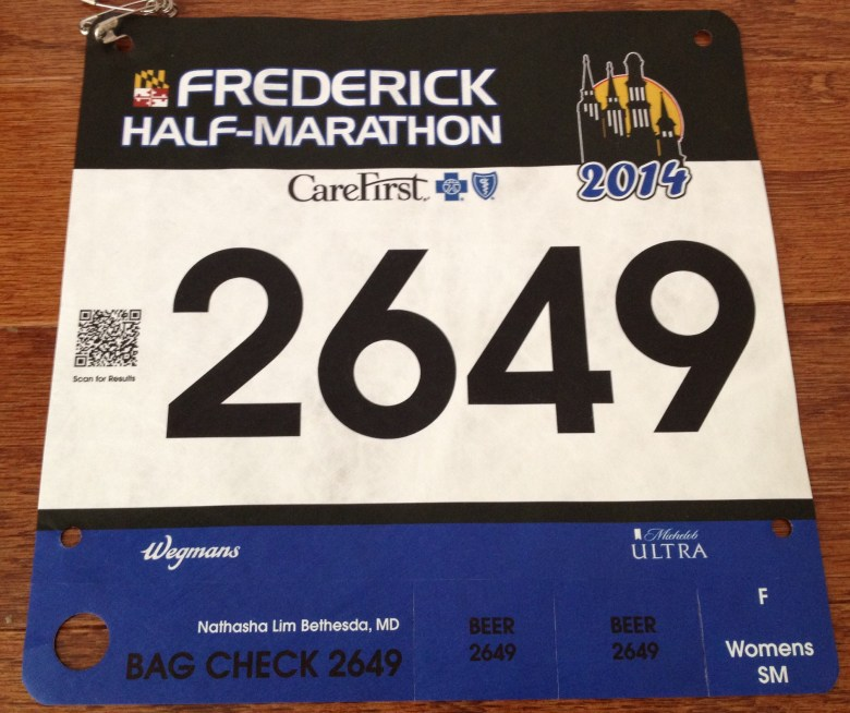My running bib for the Frederick Half had two beer tickets. Sadly, I was too tired and dehydrated to use them.