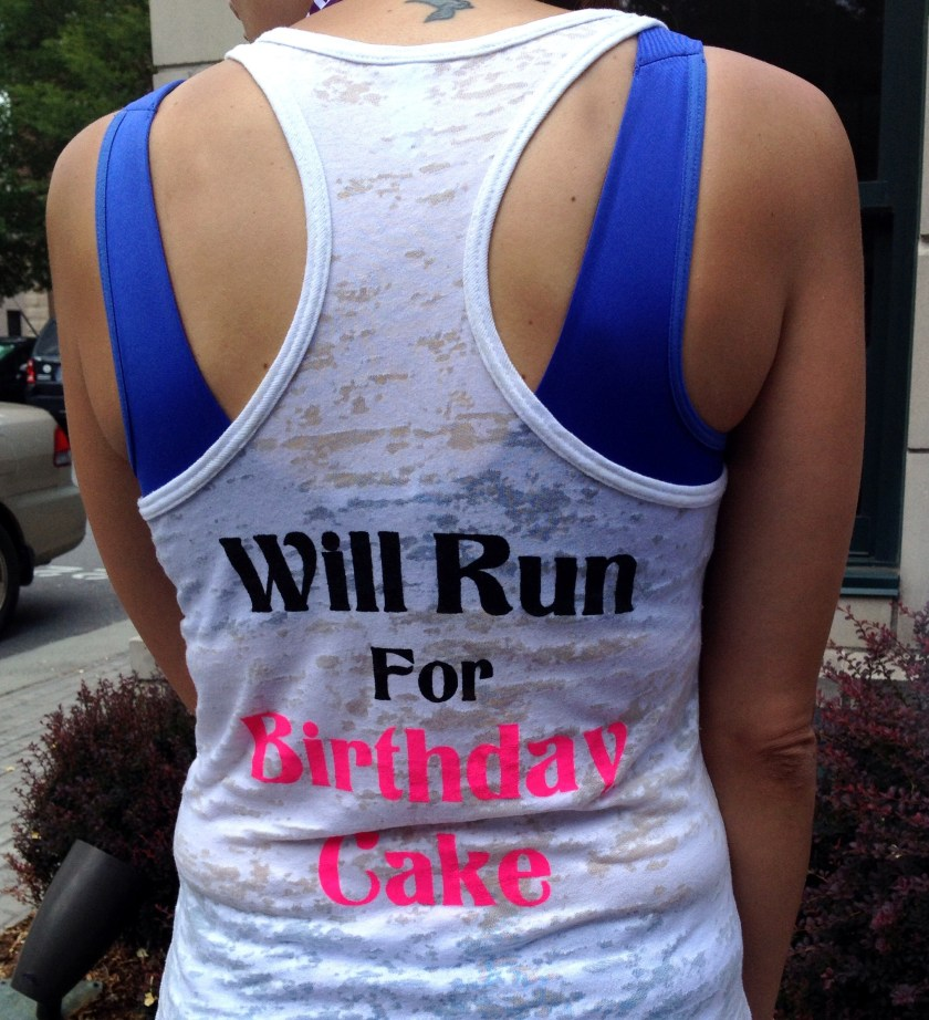 Saw another birthday girl running on the course! She had a cute shirt on.