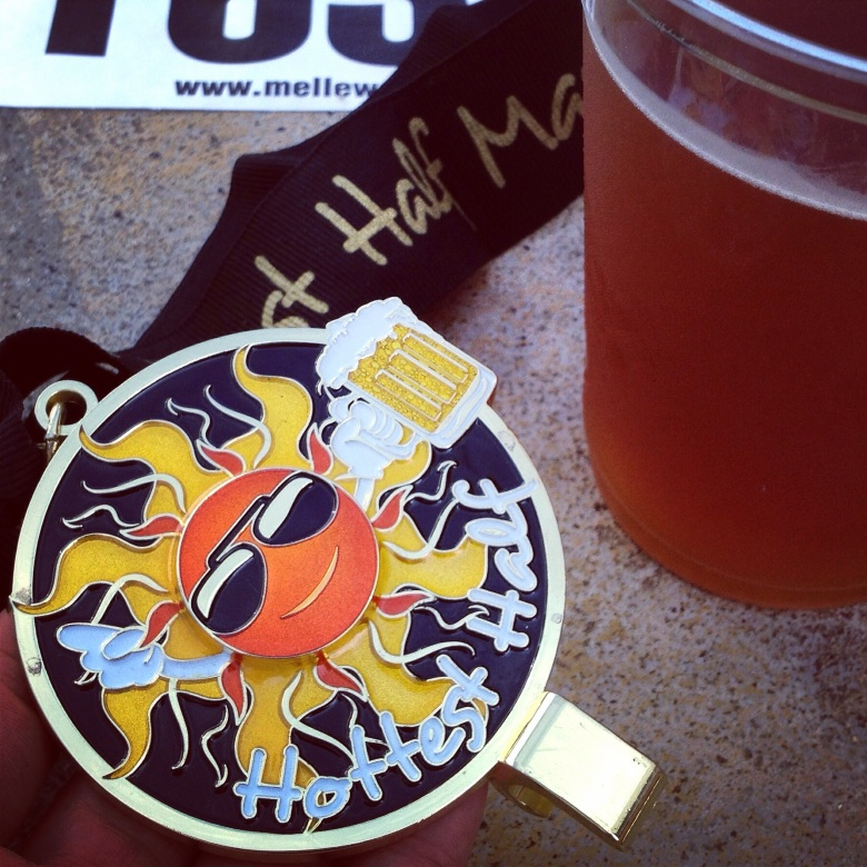 Running the Hottest Half wasn't the coolest idea, but Texas done. And medal doubles as beer opener.
