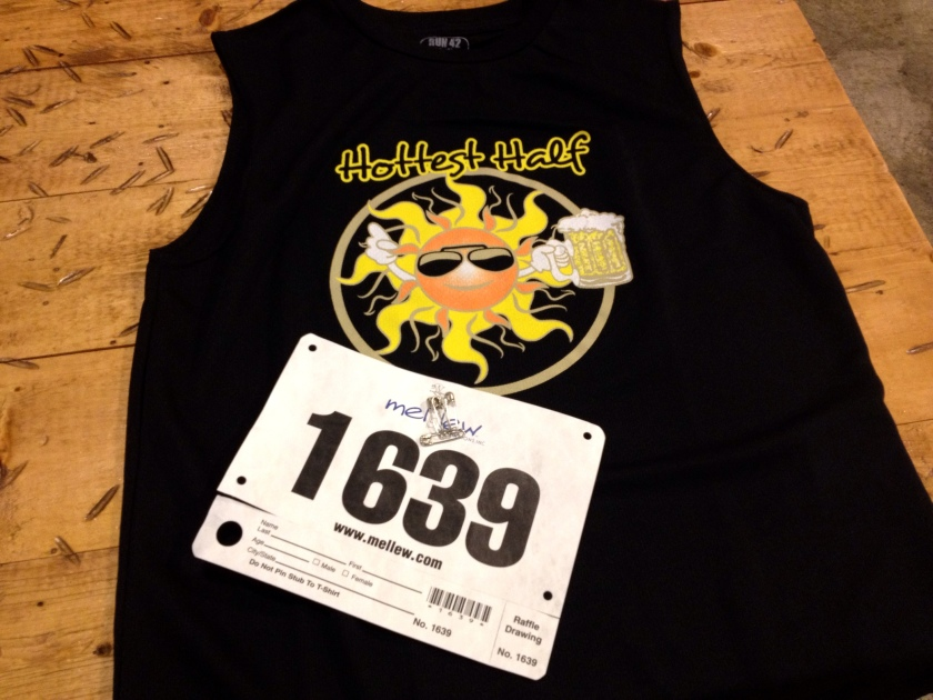 My shirt and bib for the Hottest Half