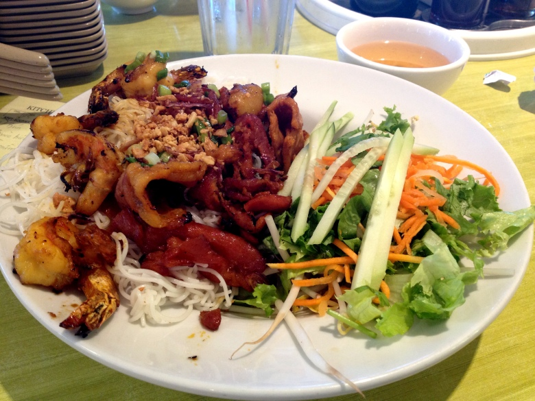 My dish at Bistro B: grilled chicken and shrimp with vermicelli.