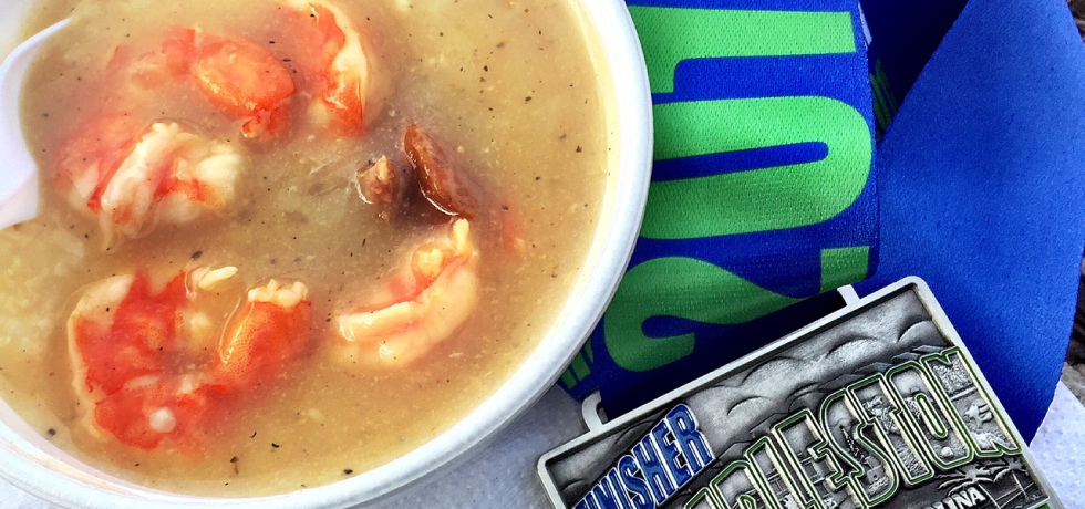 Shrimp and grits came with my medal at the Charleston Half Marathon