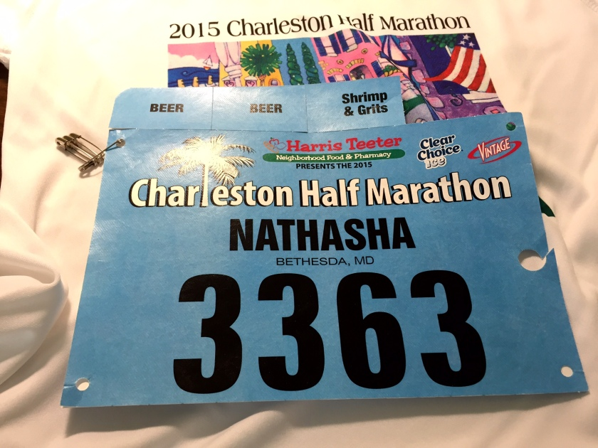 My bib for the Charleston Half had TWO beer tickets and a shrimp and grits ticket. Exciting!