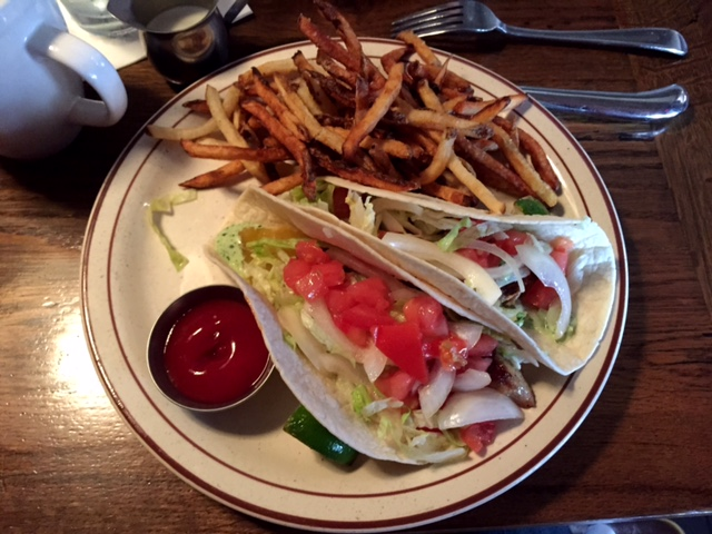 The fish tacos at Rutledge Cab Co. are delicious.
