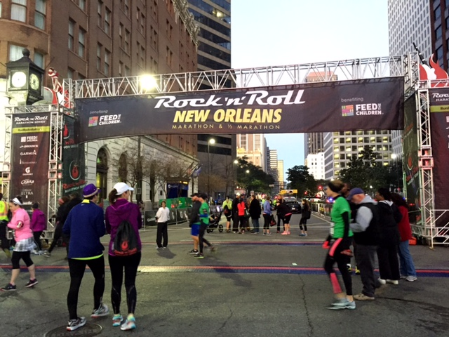 The start line at 6:45 a.m.
