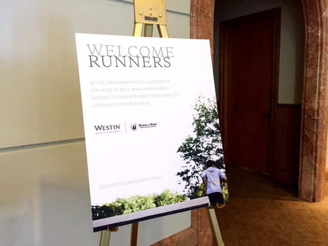 "Westin's ""Welcome Runners"" sign in the lobby."