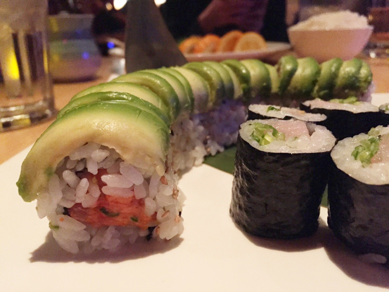 My dinner at Miso: spicy tuna rolls and yellowtail rolls.