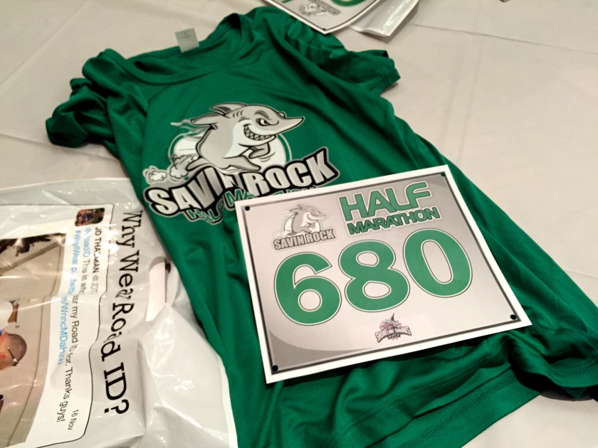 Savin Rock Half Marathon race bib and shirt.