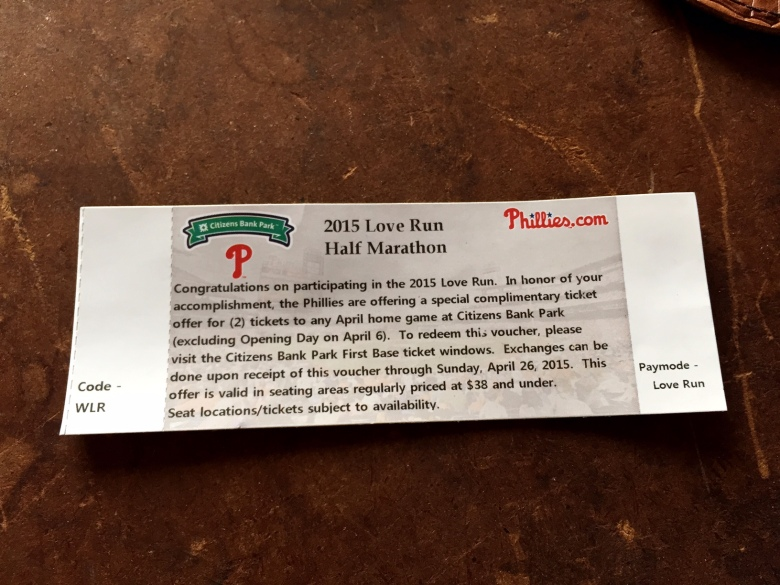 Cool race swag: Baseball tickets to any Phillies home game in April.