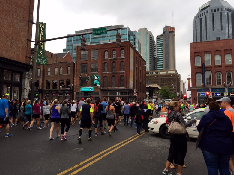 Race participants walking to the start line.