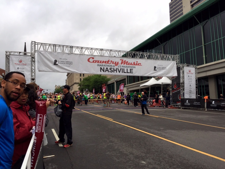 The starting line at the Country Music Marathon and Half Marathon.