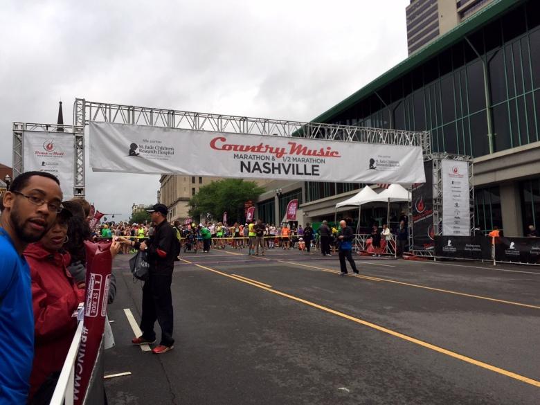 The starting line at the Country Music Marathon and Half Marathon.