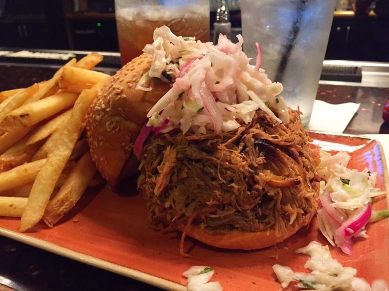 Post-race meal: A BBQ brisket sandwich from Jack Daniel's Saloon.