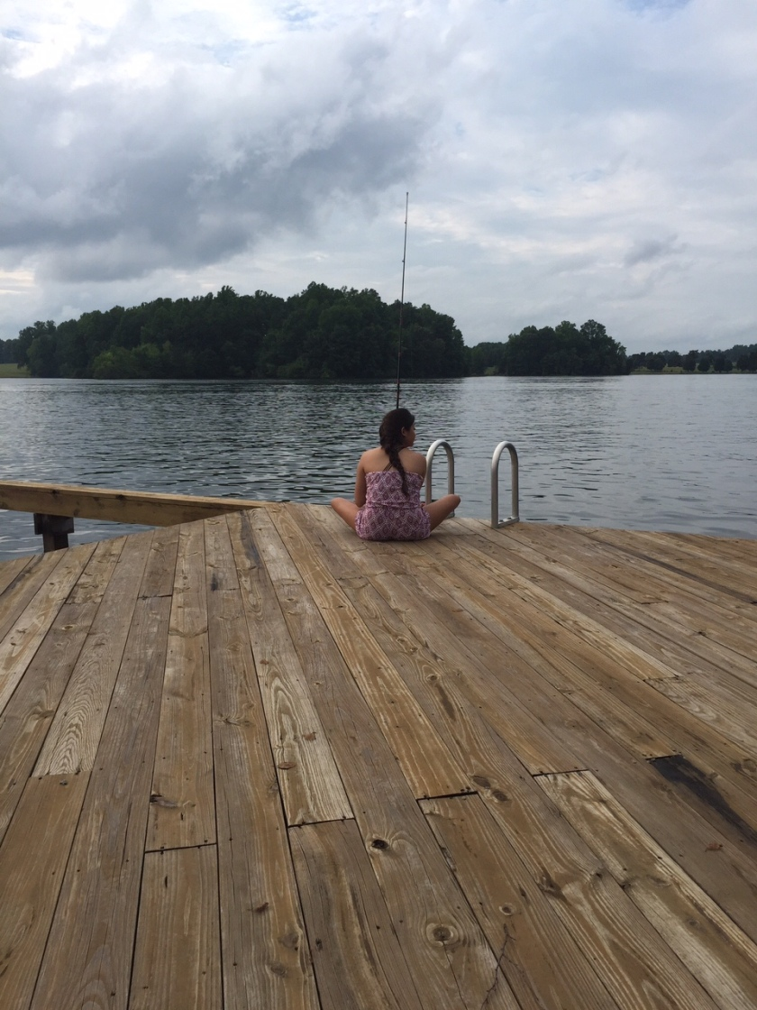 Little sister chillin on the dock at Lake Anna.