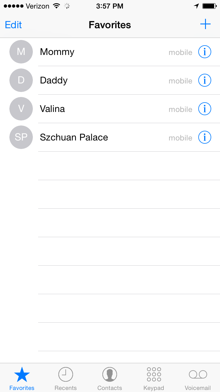 List of favorites: Mom, Dad, Sister Valina, and Szechuan Palace (yes, it is misspelled in my phone)