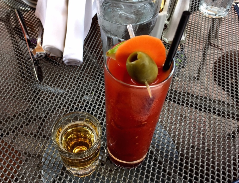 Lyon Hall's Bloody Mary comes with a shot of beer.  Cheers!