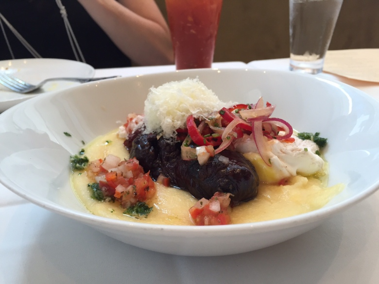 Blood sausage in polenta.