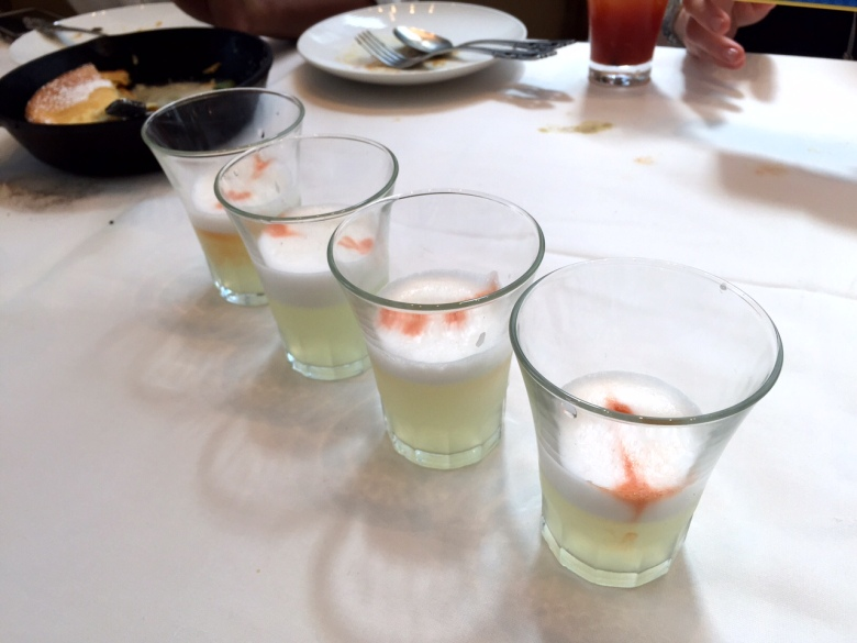 Pisco sour shots at brunch.  Totally normal.