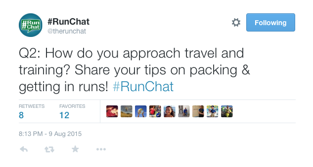 Q2: How do you approach travel and training? Share your tips on packing & getting in runs! #RunChat