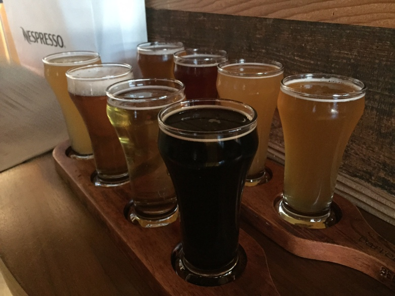 Beer flights at Barrel and Bushel.