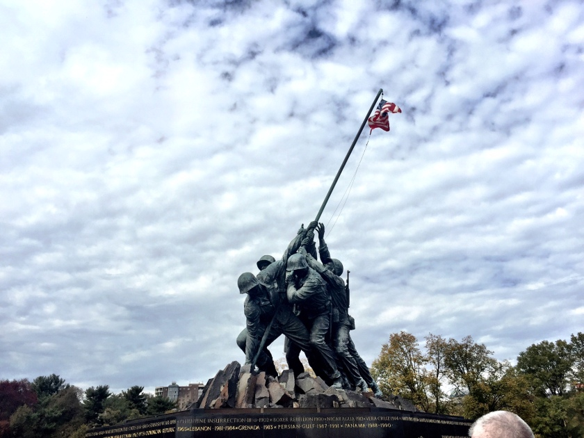 Just beyond the finish line: The Marine Corps War Memorial.