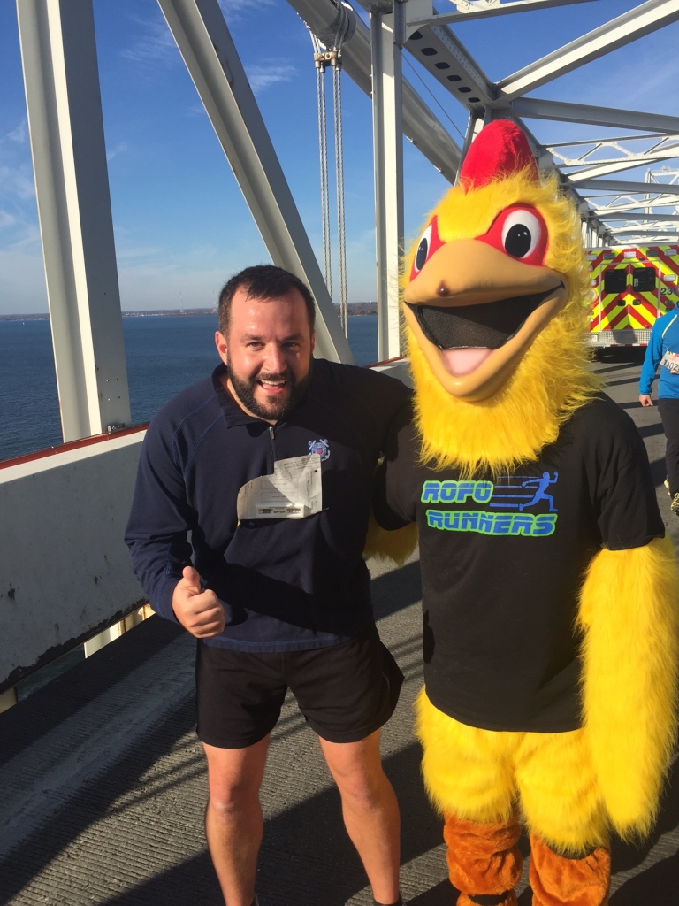 My co-worker, Ryan, ran, too. He got this awesome photo with a chicken... that I guess was running also?