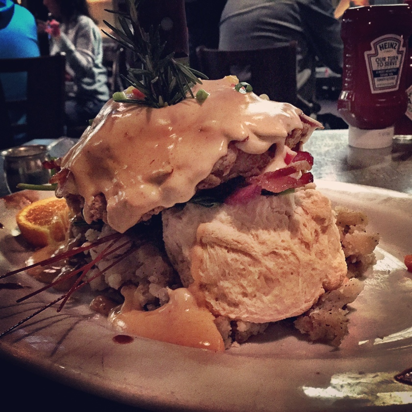 Hash House a Go Go's sage fried chicken bendict = food coma.