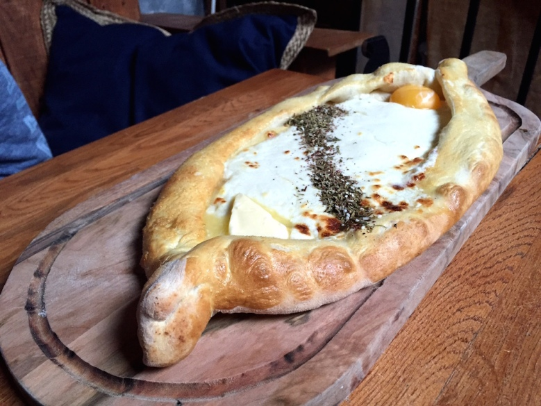 Compass Rose's version of the Georgian dish khachapuri (cheese-filled bread with egg and butter).
