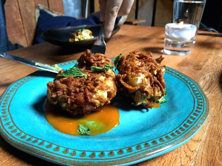 Compass Rose's version of the Indian dish Pakora (spicy vegetable fritter)