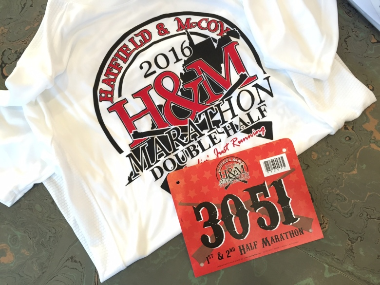 Hatfield-McCoy race shirt and bib.