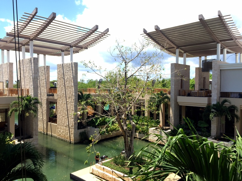Center of the lobby at the Banyan Tree Mayakoba.