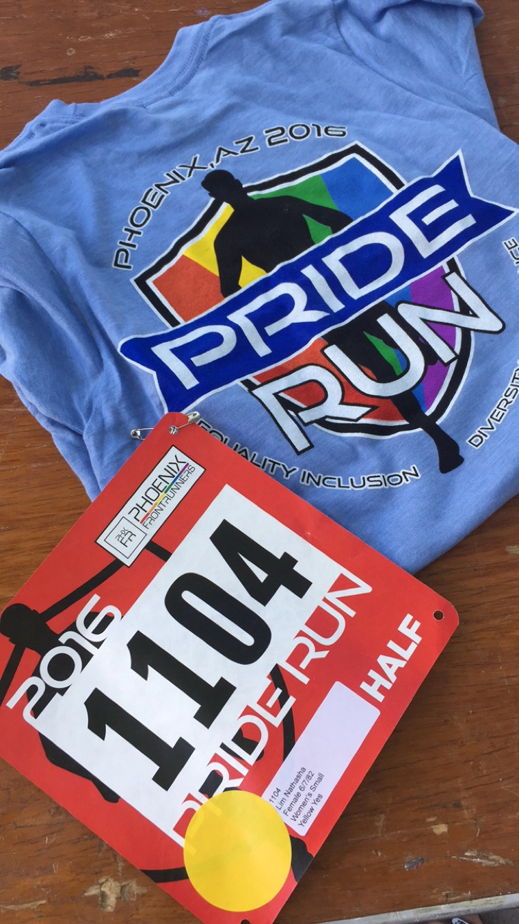 Bib and shirt for the Arizona Pride Run