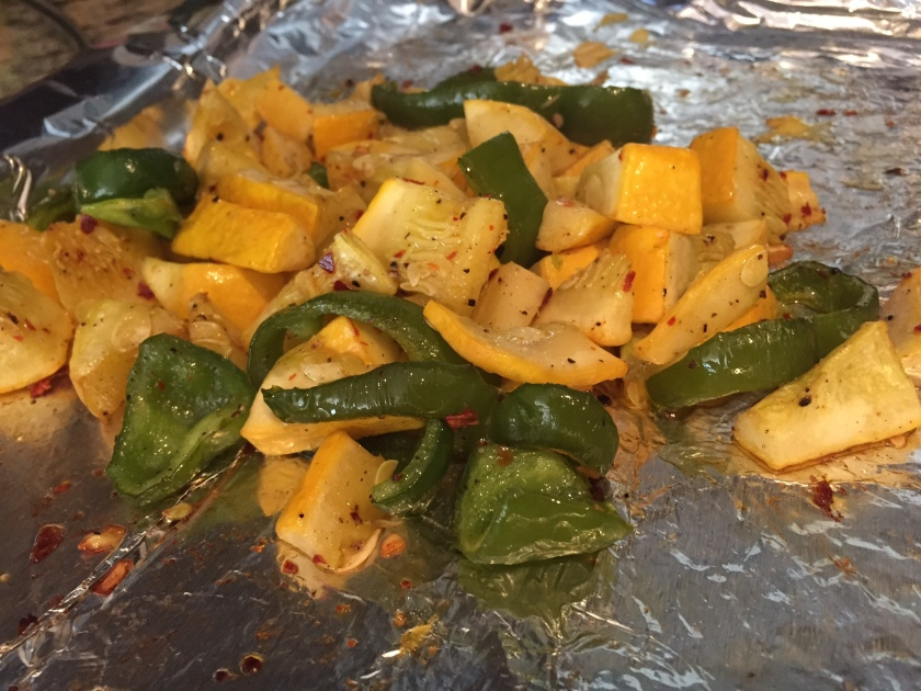 Pull roasted squash and pepper out of the oven