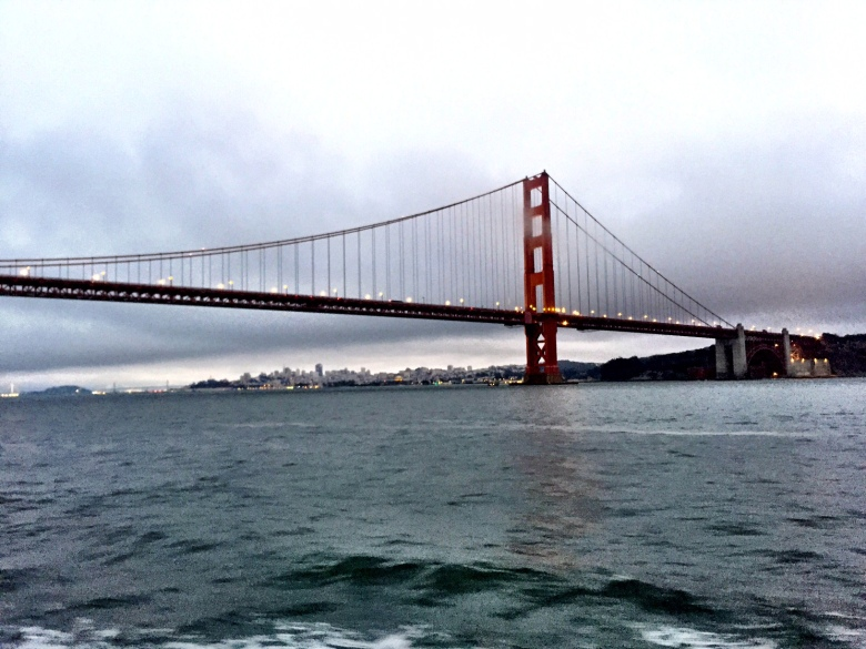 A shot of the Golden Gate Bridge from the sunset boat tour we took.