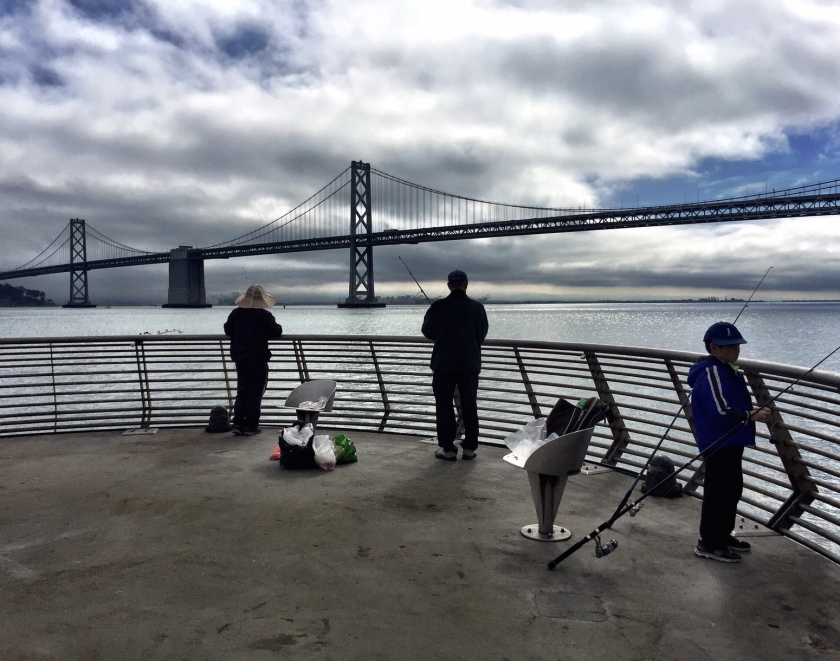 Fishing in front of the Bay Bridge.